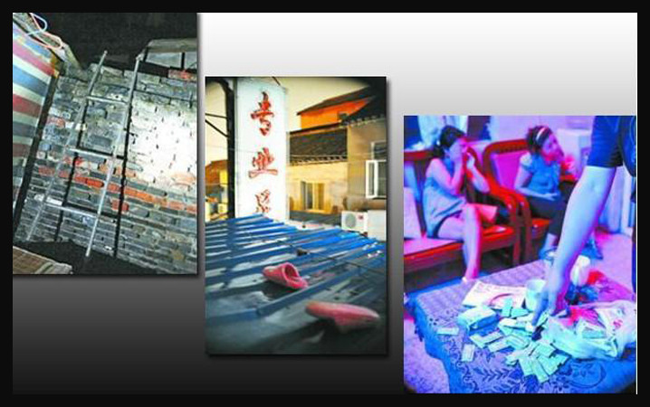 Chinese brothels, 22 images of police raids on brothels in China