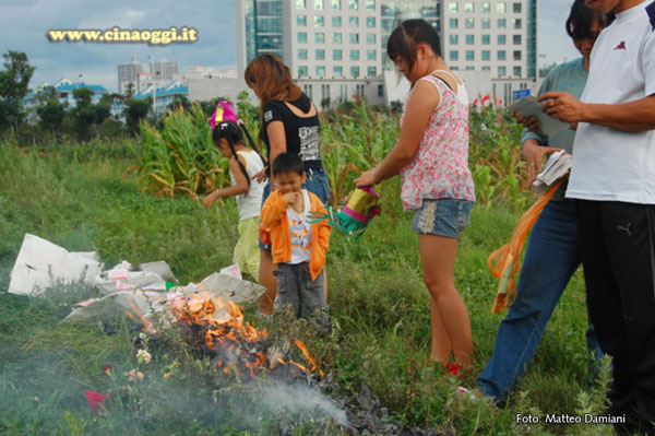 Chinese young people celebrating the Hungry Ghost Festival
